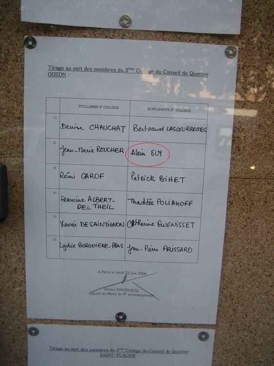 Les 12 habitants du quartier Odéon choisis par une main innocente pour siéger au conseil de quartier Odéon de 2008 à 2011, avant l'annulation du tirage au sort.