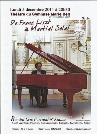 5 décembre 2011 : Concert d'exception au Gymnase Marie Paule Bell