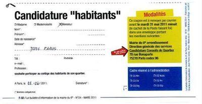 Coupon de candidature pour participer le 14 juin 2011 au tirage au sort des collège Habitants au sein des conseils de quartier (c) Direction générale des services de la mairie du 6e arrondissement.
