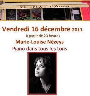 Concert classique de piano au Petit Olivier avec Marie-Louise Nézeys.