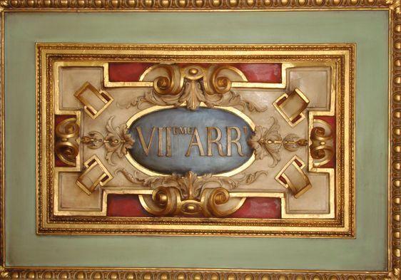 Détail du plafond de la salle des mariages de la mairie du 7e arrondissement - Photo : VD.