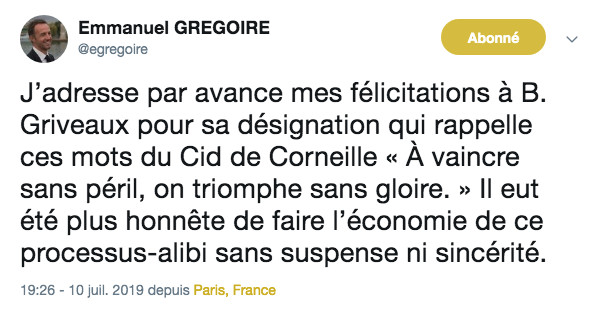 Emmanuel Grégoire le premier djoint d'Anne Hidalgo félicite Benjamin Griveaux © capture d'écran Twitter.