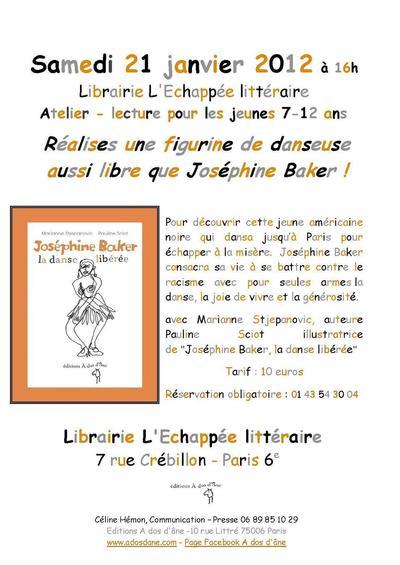 21 janvier 2012 : Atelier lecture-création pour les 7-12 ans à L'Echappée littéraire