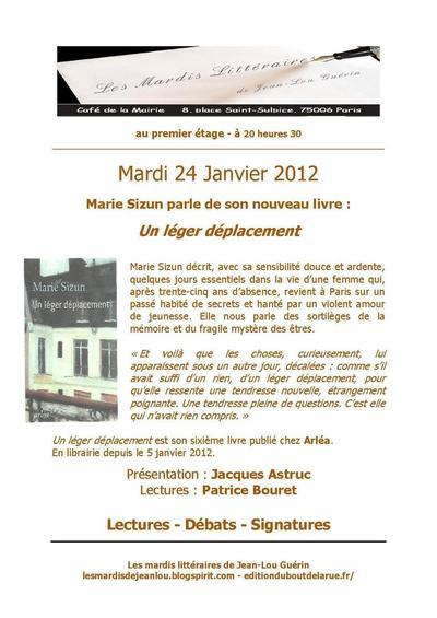 24 janvier 2012 : Marie Sizun fait son mardi littéraire au café de la mairie