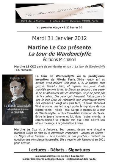31 janvier 2012 : Martine Le Coz fait son mardi littéraire au café de la mairie