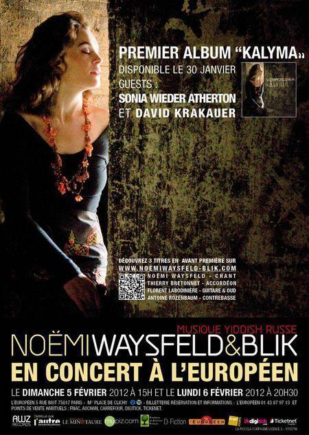 5 et 6 février 2012 : Noémi WAYSFELD & BLIK en concert à l'Européen