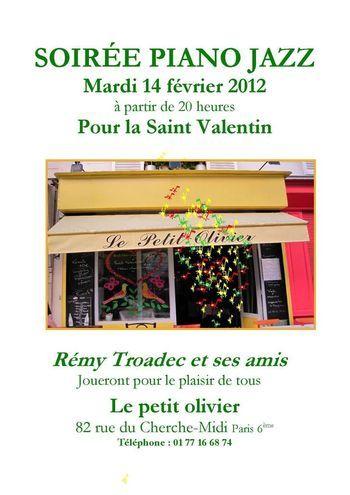 14 février 2012 : Soirée Piano Jazz au Petit Olivier