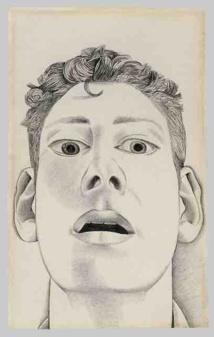 Startled Man: Self-portrait, 1948, Pencil on Paper, 22,9x14,3 cm, private collection © The Lucian Freud Archive/Bridgeman Images