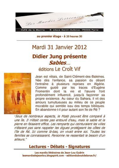 14 février 2012 : Didier Jung fait son mardi littéraire au café de la mairie