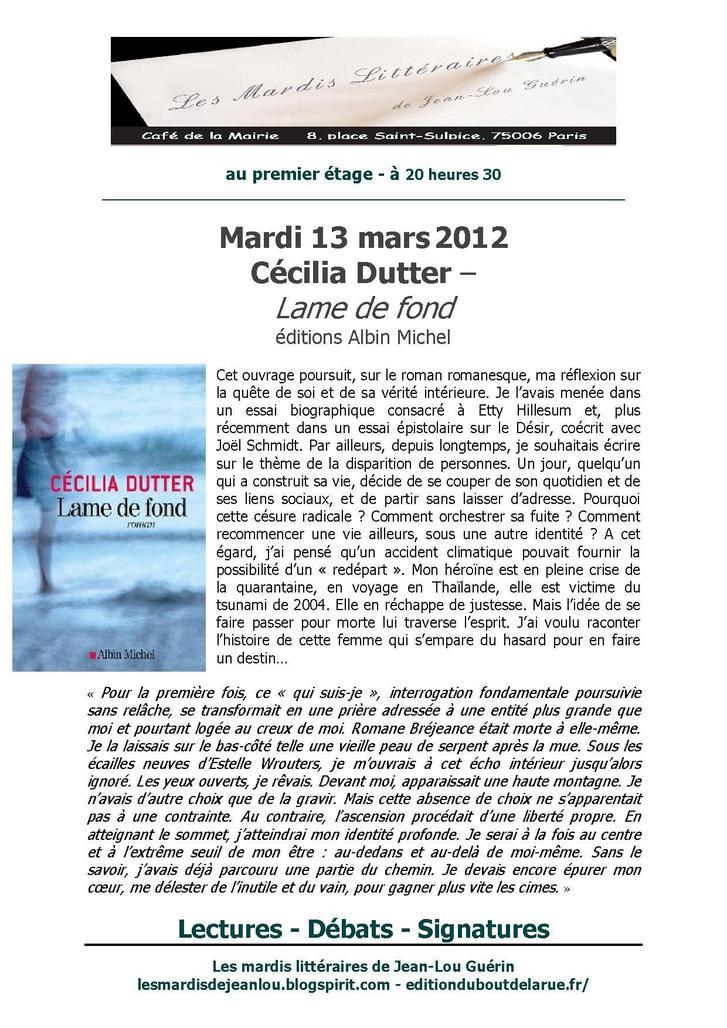 13 mars 2012 : Cécilia Dutter fait son mardi littéraire au café de la mairie