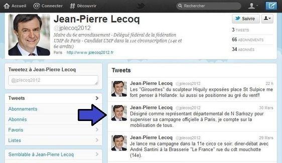 Jean-Pierre Lecoq annonce le 30 mars 2012 sur son compte Twitter avoir été Désigné comme représentant départemental de N Sarkozy pour superviser sa campagne officielle à Paris.