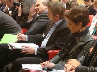 Les sénateurs Yves Pozzo di Borgo, représentant le candidat François Bayrou, et Chantal Jouanno, qui s'exprime à titre personnel - Photo : VD.