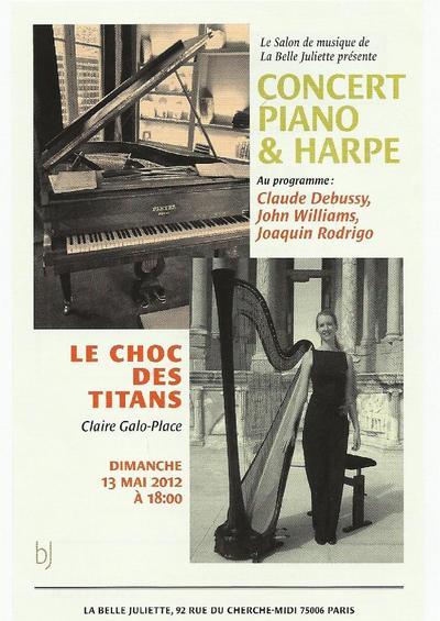 13 mai 2012 : Concert de piano & de harpe LE CHOC DES TITANS