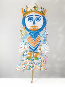 Ni Tanjung, 2017, unique work, colored pencil and chalk, on paper cutout, fastenen on bamboo stick© Galerie Patricia, Dorfmann, Paris