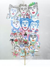 Ni Tanjung, unique work, 2014, colored pencil and chalk, paper cutout on bamboo stick© Galerie, Patricia Dorfmann, Paris