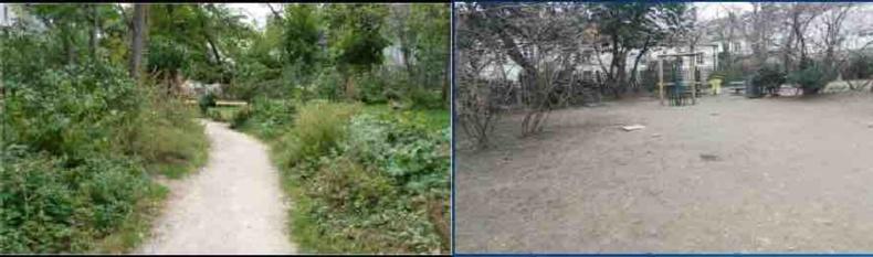 """AVANT (à gauche) - APRES (à droite) : """"Des espaces verts complètement détruits tel que ce beau jardin Frédéric DARD à MONTMARTRE qui est devenu un terrain de boue. Bravo l'écologie à Paris !!!"""" Communiqué de la CGT ASPS du 29 janvier 2020 (Extrait)"""