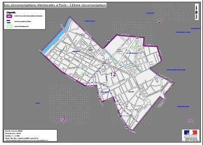 La 12e circonscription de Paris (c) Ministère de l'intérieur.