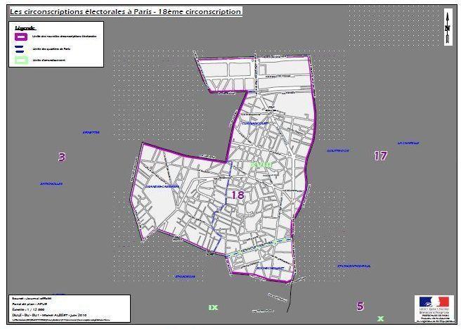 La 18e circonscription de Paris (c) Ministère de l'intérieur.