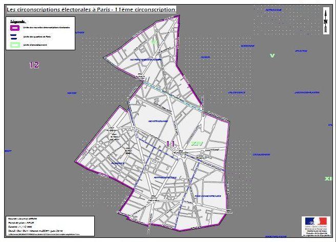 La 11e circonscription de Paris (c) Ministère de l'intérieur.