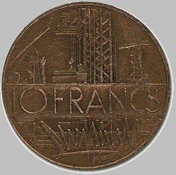Pièce de 10 Francs Français, côté face, par Georges Mathieu.