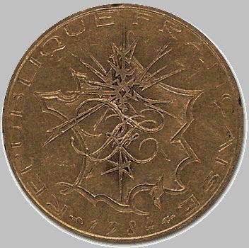 Pièce de 10 Francs Français, côté pile, par Georges Mathieu.