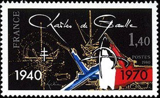 L' Appel du 18 juin 1940 - commémoration de la mort du Général de Gaulle en 1970, par Georges Mathieu.
