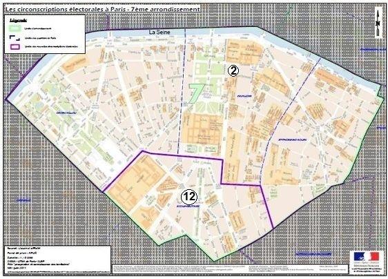 Le 7e arrondissement à cheval sur la 2e et la 12e circonscription de Paris (c) Ministère de l'Intérieur.