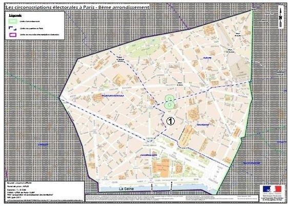 Le 8e arrondissement est inclus dans la 1ere circonscription de Paris (c) Ministère de l'Intérieur.