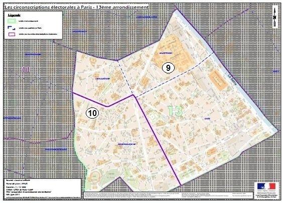 Le 13e arrondissement à cheval sur la 9e et la 10e circonscription de Paris (c) Ministère de l'Intérieur.