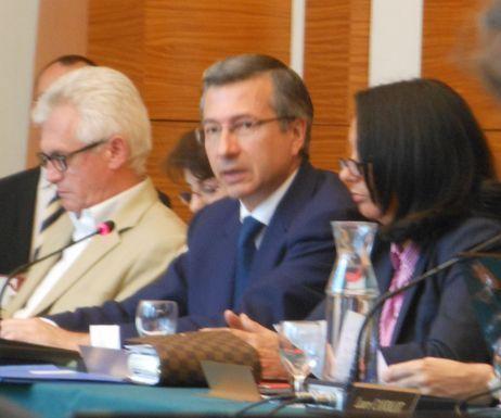 Jérôme Dubus, conseiller de Paris (Nouveau Centre), lors du conseil du 17e arrondissement le 2 juillet 2012.