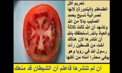 La preuve par l'image du Popular Egyptian Islamic Association : la photo d'une tomate coupée en deux montre une croix chrétienne (c) Popular Egyptian Islamic Association (Egypte) sur Facebook - juin 2012.