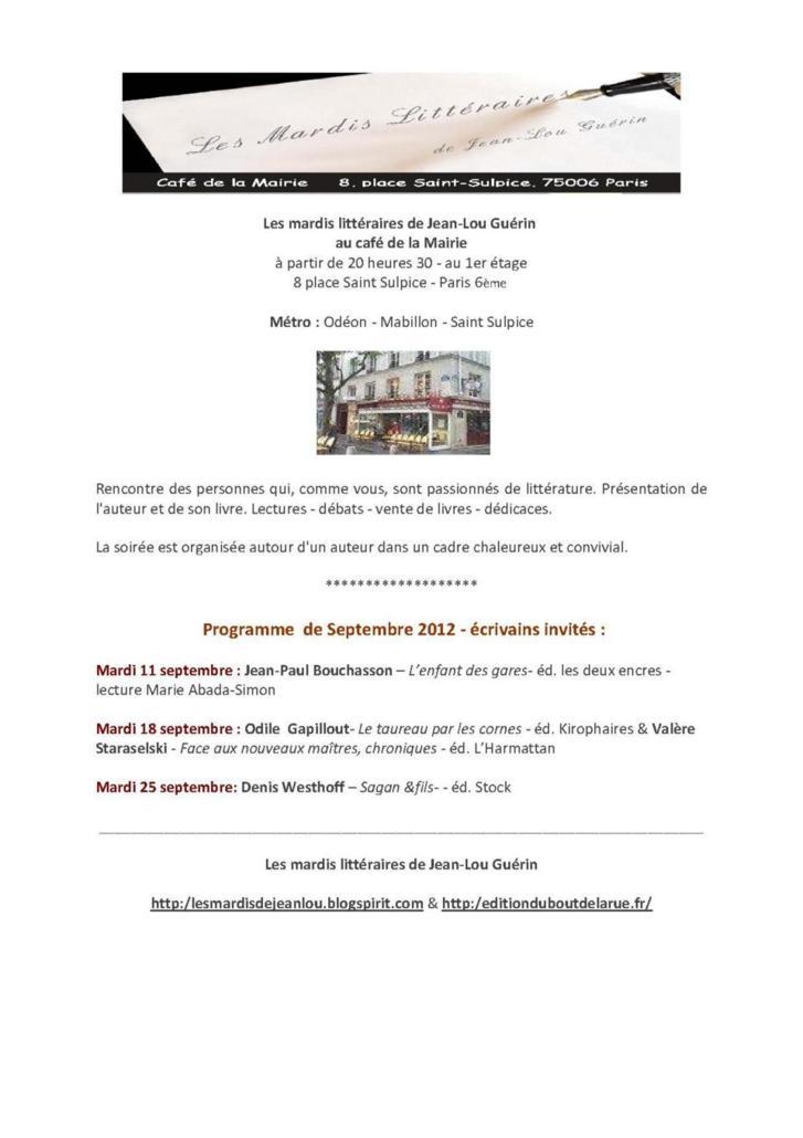 Septembre 2012 : Programme des Mardis Littéraires de Jean-Lou Guérin au Café de la Mairie Place Saint Sulpice