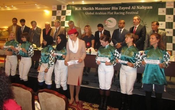 Présentation des Femmes Jockey et des cavalières amateurs pour le Grand Prix du Championnat du monde Femmes de SAR Sheikha Fatima Bint Mubarak - Course de chevaux de Pur-sang Arabes à Craon en Mayenne le 1 septembre 2012 (c) Photo : Luma Ghazzaoui.