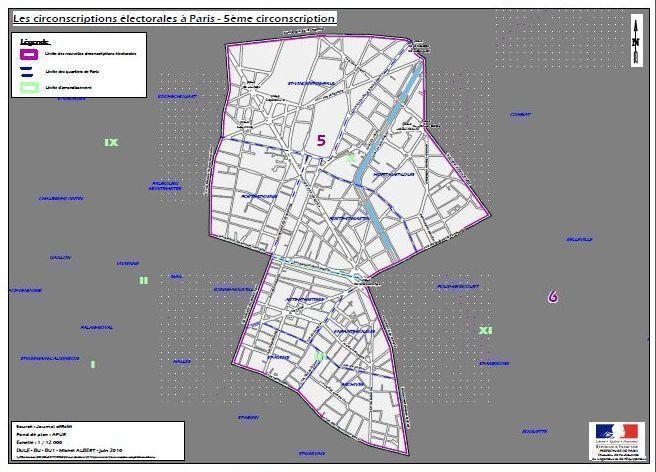 La 5e circonscription de Paris sur le 3e et le 10e arrondissement (c) Ministère de l'Intérieur.