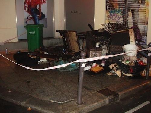 Ce qu'il reste de l'incendie du 19 rue Grégoire de Tours.