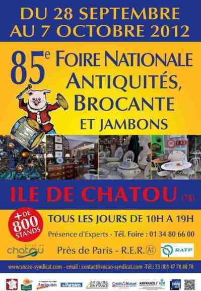 28 septembre - 7 octobre 2012 : Foire Nationale aux Antiquités à la Brocante et aux Jambons de Chatou