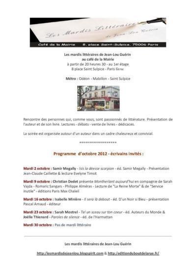 Octobre 2012 : Programme des Mardis Littéraires de Jean-Lou Guérin au Café de la Mairie Place Saint Sulpice