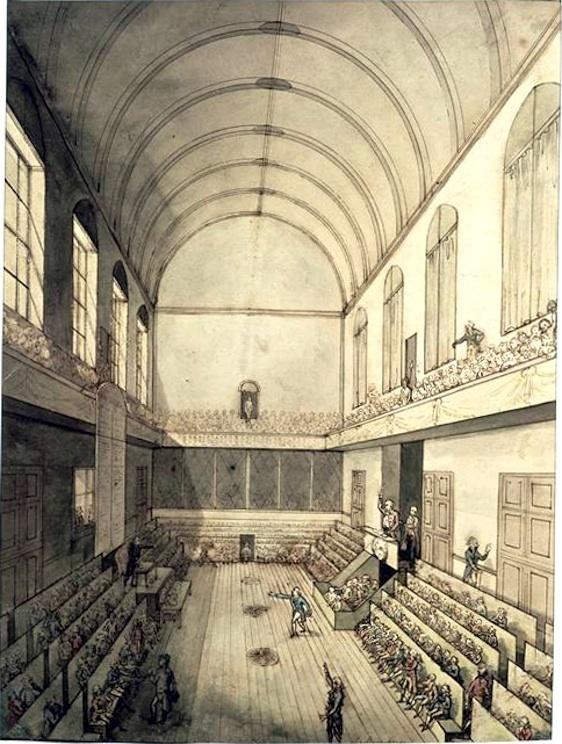 La Salle du Manège aux Tuileries où siégèrent successivement l'Assemblée Constituante du 9 novembre 1789 au 30 septembre 1791, l'Assemblée Législative du 1er octobre 1791 au 21 septembre 1792, la Convention Nationale du 21 septembre 1792 au 9 mai 1793 et où démarra l'An I de la République le 22 septembre 1792.