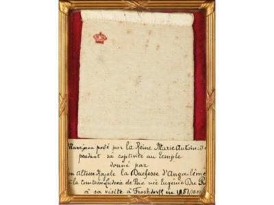 Mancheron porté par la Reine Marie-Antoinette en captivité (c) Etude Coutau-Bégarie.