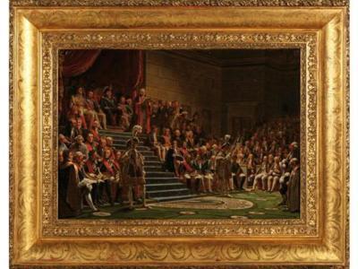 Louis XVIII préside l'ouverture de la session des Chambres (c) Etude Coutau-Bégarie.