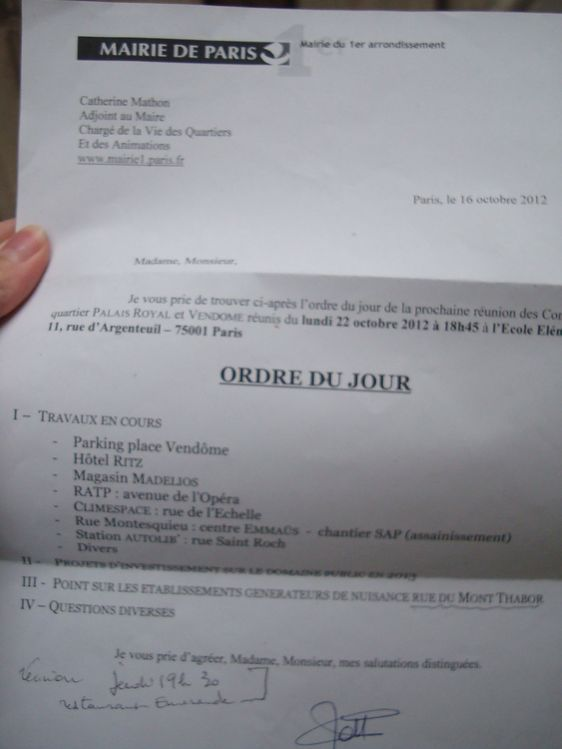 L'ordre du jour du conseil de quartier Palais Royal Vendôme le 22 octobre 2012  à 18h45 ne mentionne pas l'ouverture d'un Resto du Coeur rue Saint-Roch.