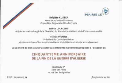 10 novembre 2012 : Table ronde autour du 50e anniversaire de la fin de la guerre d'Algérie