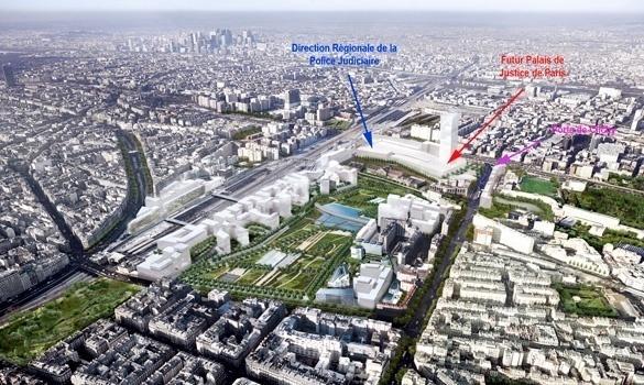 ZAC de Clichy-Batignolles : de gauche à droite, la Direction Régionale de la Police Judiciaire de Paris (DRPJ), la Cité Judiciaire et la Porte de Clichy (c) anciens-combattants.forumactif.com
