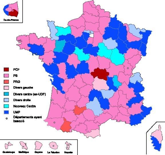Couleur politique des présidents des conseils généraux élus suite aux élections cantonales de 2011 (c) Conseils généraux 2008 - Pymouss44 derivative work - Superbenjamin.