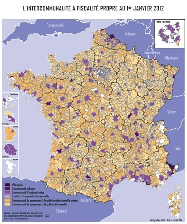 Intercommunalité à fiscalité propre au 1er janvier 2012 (c) Cartographie de la Direction générale des collectivités locales DESL