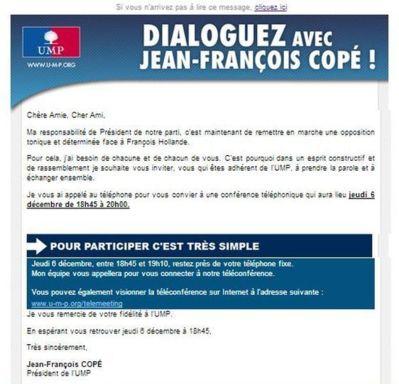 """EMailing """"Dialoguez avec Jean-François Copé"""" Telemeeting Relance."""