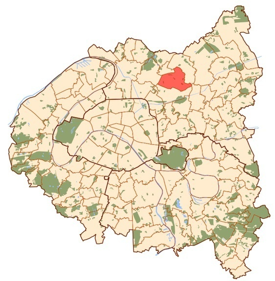 En couleur : la commune de Drancy du député-maire Jean-Christophe Lagarde, seul député de l'opposition sur 12 députés en Seine-Saint-Denis (c) Metropolitan.