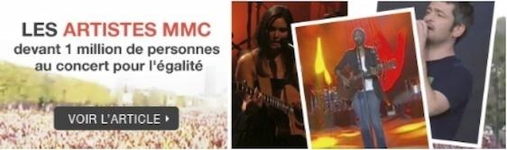 Les artistes MMC chantent devant plus d'un million de personnes lors du concert pour l'égalité le 14 juillet 2011.