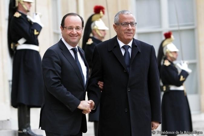 Après l'entretien de François Hollande avec Ali Zeidan, Premier ministre de Libye, le 13 février 2013 - Crédit photo : Présidence de la République - P. Segrette.