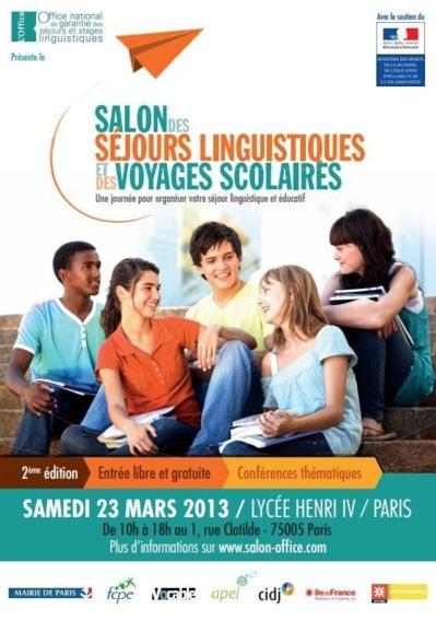 23 mars 2013 : le Salon des séjours linguistiques et des voyages scolaires